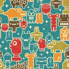 Robots on blue.  fabric by panova on Spoonflower - custom fabric