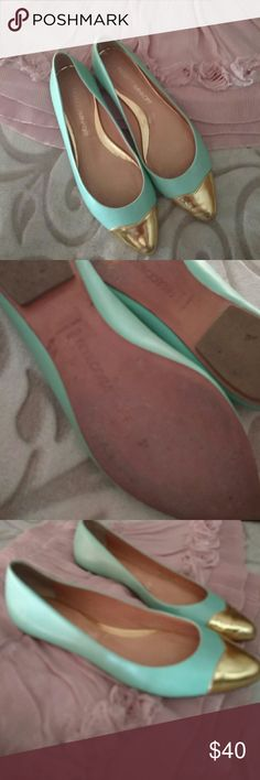 Gourgous REBECCAMINKOFF mint and gold flats This year's style! Worn but no flaws on the beautiful mint leather or gold tips.  Bottoms have normal wear.  I They are in excellent condition!! Absolutely beautiful! Rebecca Minkoff Shoes