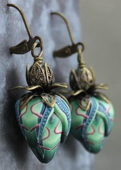 Polymer Clay and Brass Leverback Earrings by ikandiclay on Etsy