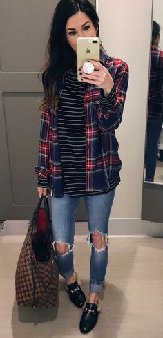 #winter #outfits red and black plaid sport shirt and gold iPhone 7 plus