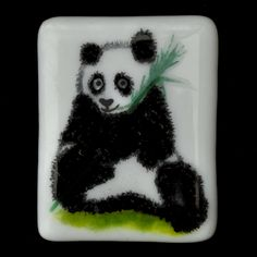 Fused Glass Panda Magnet - A gallery of kiln formed fused glass custom orders. Please contact me to discuss your ideas. www.glassbygenea.co.uk #fusedglass #customorder