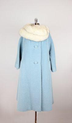 vintage LILLI ANN wool coat / fur collar wool by archetypevintage