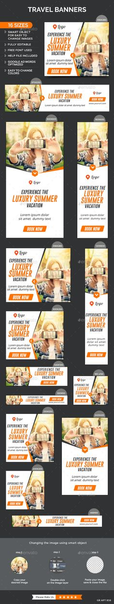 Travel Banners Template #design #web #ads Download: http://graphicriver.net/item/travel-banners/12646357?ref=ksioks