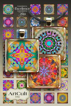 MANDALAS  - 1x1 inch Digital Collage Sheet Printable download for glass and resin pendants magnets paper goods