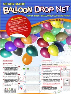 "Balloon Drop Kits.    Only $9.50    Only While Supplies last.    Holds 120 11-12"" Latex Balloons.    Large Size 13'X5'"