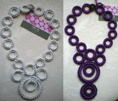 Knitting Jewelry Models – 70 Pieces of Knitted Jewelry Earrings and Necklace Models - Schmuck Selber Machen Col Crochet, Crochet Collar, Irish Crochet, Crochet Stitches, Tatting Necklace, Tatting Jewelry, Crochet Bracelet, Crochet Earrings, Tatting Patterns
