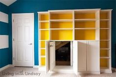 """How to Use a """"Built-In"""" Billy Bookcase to Hide an Eyesore via LivingWithLindsay.com by elinor"""