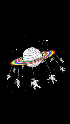 Astronauts Merry Go Round Planet Space #iPhone #5s #wallpaper