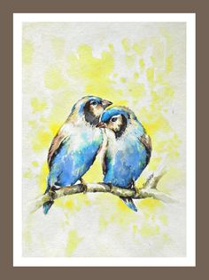 Blue Birds 2  Art Print of Original Watercolor Painting by ARTRIDE, $18.00