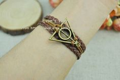 Harry Potter and Deathly Hallows Charm BraceletBrown by Evanworld, $4.00
