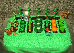 Garden Cake for Teacher Appreciation Week - Potatoes, Watermelons, Carrots, Cabbage, Radishes, Pumpkins, Lettuce, Tomatoes