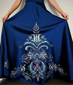 zeiko / folk sukňa Hand Painted Dress, Folk, Textiles, Skirts, Painting, Clothes, Dresses, Fashion, Vestidos
