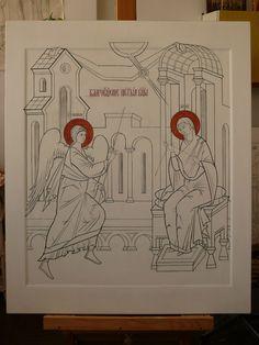 Catholic Crafts, Catholic Art, Monastery Icons, Archangel Gabriel, The Birth Of Christ, Byzantine Icons, Painting Studio, Religious Icons, Art Icon