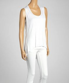 This White Sleeveless Hi-Low Top is perfect! #zulilyfinds