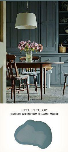 Kitchen Cabinet Paint Color Ideas. Newburg Green Benjamin Moore. #BenjaminMooreNewburgGreen POPSUGAR Home