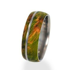 Mens and Womens Titanium  Rings inlaid with Green Box Elder Burl Wood. via Etsy.