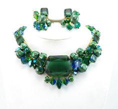 RARE Vintage RIFAS Necklace & Earrings Demi-Parure - Huge Emerald Glass Stones - Crystal Dangles with Rhinestones KILLER Set!