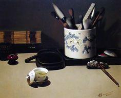 【油画-中国风】朱植人《文房雅趣》-艺术图库 荷舞东风