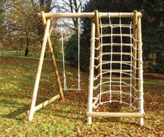 Single Swing Frame with Net Frame combines swinging with climbing on a budget. Easy to order. Delivery in Scotland and all of UK. Wooden Swing Frame, A Frame Swing, Diy Swing, Wooden Swings, Swing Sets, Backyard Playground, Backyard For Kids, Playground Ideas, Playground Design