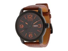 Citizen Watches BM8475-26E Eco-Drive Strap Watch Black Ion Plated/Brown - Zappos.com Free Shipping BOTH Ways