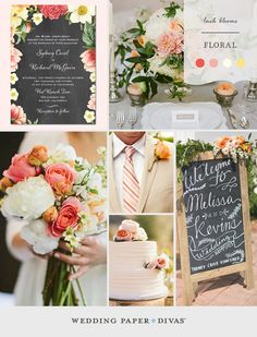 If the sight of peonies, dahlias, and garden roses makes your heart flutter, this inspiration board is for you. Take a floral wedding theme to the next level with lush arrangements and elegant color combinations.