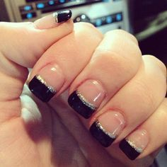 Black and silver tip solar nails. <3