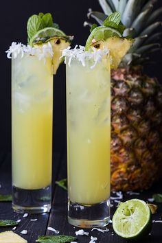 Pineapple Coconut Mojitos - So sweet, tart and refreshing. these delicious mojitos are a breeze to make! Pineapple Coconut Mojitos are so sweet, tart and refreshing. These delicious mojitos are a breeze to make and guaranteed to be a crowd-pleaser! Summer Cocktails, Cocktail Drinks, Cocktail Recipes, Watermelon Cocktail, Margarita Recipes, Party Drinks, Fun Drinks, Healthy Drinks, Alcoholic Drinks At Home