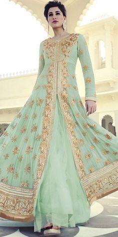 Green Net Designer Anarkali Suit With Chiffon Dupatta.
