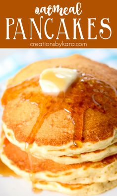 Recipe for Oatmeal Pancakes - buttermilk and brown sugar make these the best oatmeal pancakes. Includes tips for making pancakes with oats. #oatmealpancakes #oatpancakes #homemadepancake #oatmealpancakerecipe #creationsbykara Fresh Fruit Desserts, Fruit Recipes, Dessert Recipes, Drink Recipes, Easy Recipes, Homemade Pancakes, Making Pancakes, Best Breakfast Recipes, Pancake Recipes
