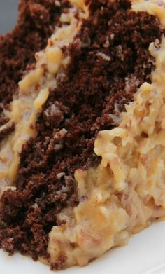 Best Ever German Chocolate Cake Recipe ~ Rich, moist chocolate cake with smooth and creamy caramel like pecan and coconut frosting