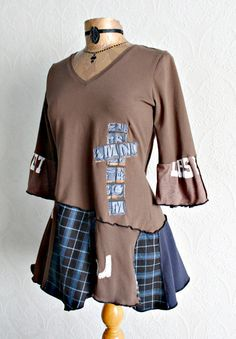 Rustic Tunic Top Cross Design Upcycled Goth by BrokenGhostClothing