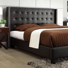 wingback headboard creates a unique look. A tufted button headboard . Black Platform Bed, Leather Platform Bed, Blue Gray Bedroom, Budget Bedroom, Bedroom Ideas, Brown Home Decor, Black Headboard, Wingback Headboard, Minimalist Bedroom