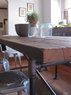 Steel pipe table tutorial with a parts list. I may modify for a foyer table.