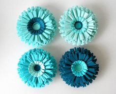 Magnets, Paper Flowers, Set of Four - Teal, Blue, Turquoise, Aqua, Shades, Wedding, Fun, Cute, Handmade, Table Settings