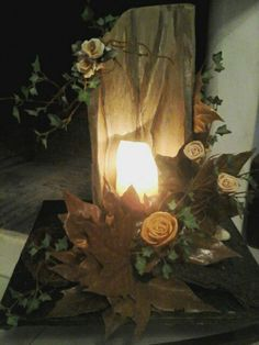 Its a new decoration idea for anyhouse and for sale also,wood,leaves and flowers.