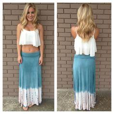 Blue & Pink Destin Tie Dye Maxi Skirt - InStores