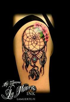 Flowers and Dreamcatcher Tattoo