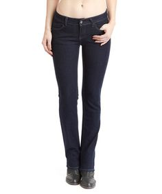 $16.99 Look what I found on #zulily! Dark Indigo Embroidered-Pocket Straight-Leg Jeans - Women #zulilyfinds