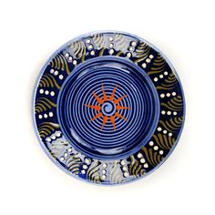 Vintage 1970's Soufflenheim Alsace French Pottery Dark Blue+ Orange Star Floral Country Plate Bowl
