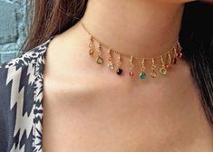 14kt Gold Fill Choker Necklace. Multi-Color Swarovski Element hanging charms.