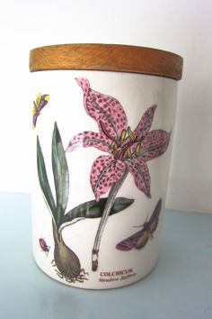 Portmeirion, Botanic Garden, Colchicum pattern, storage jar, lidded pot, storage canister, vintage pot, cottage chic, country kitchen, caddy by thevintagemagpie01 on Etsy