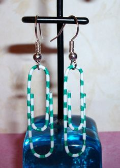 Green White Paper Clips Handmade Earrings by CraftyChic90 on Etsy, $2.20