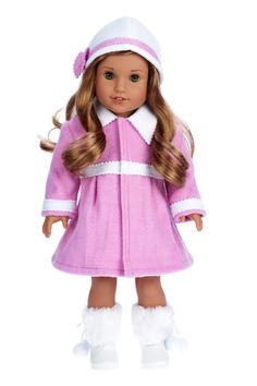 Lavender fleece coat and hat matched with white faux fur boots.  * Doll outfit contains a velcro closure for easy dressing and clothing removal. * Our doll clothes fits 18 inch American Girl dolls. * Designed in the USA and sold Exclusively by DreamWorld Collections. * DOLL(S) NOT INCLUDED * U.S. CPSIA CHILDRENS PRODUCTS SAFETY CERTIFIED