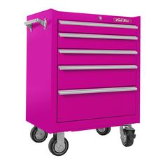 The Original Pink Box Steel Rolling Cabinet, Pink Hardware Hardware Accessories Tool Storage Organization Tool Cabinets Chests Pink Tool Box, Doll Organization, Tool Cart, Buy Tools, Drawer Unit, Tool Steel, Garage Storage, Drawer Storage, Homes