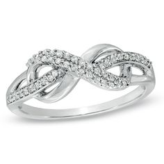 1/5 CT. T.W. Diamond Infinity Loop Ring in Sterling Silver - Zales