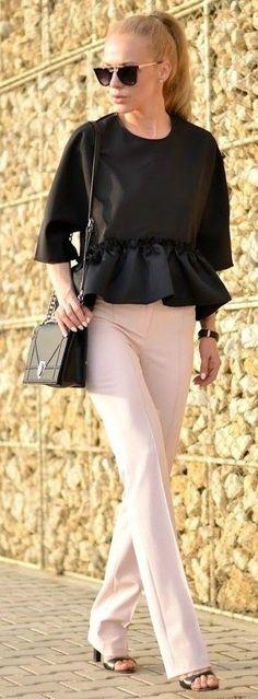 #street #style #blackandwhite #spring #inspiration |Black Peplum Top + White Tailored Pants |Loving- Evelyn