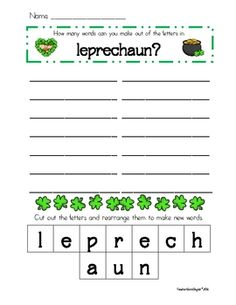 Here is a St. Patrick's Day making words freebie. Enjoy! See my St. Patrick's Day packet for other activities for this holiday....