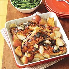 Unexpected flavors make this dinner of Roasted Chicken with Potatoes and Shallots restaurant quality worthy—and totally unforgettable! Substitute split bone-in, skin-on chicken breasts for the legs. If you have fresh rosemary, use 1 1/2 teaspoons.