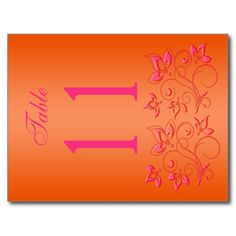 Reversible Pink and Orange Floral Table Number Post Card