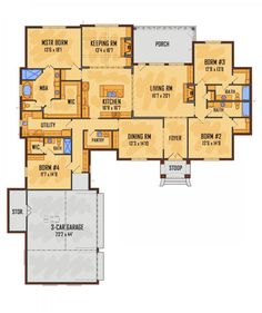 653665 4 bedroom 3 bath and an office or playroom for House plans with keeping rooms